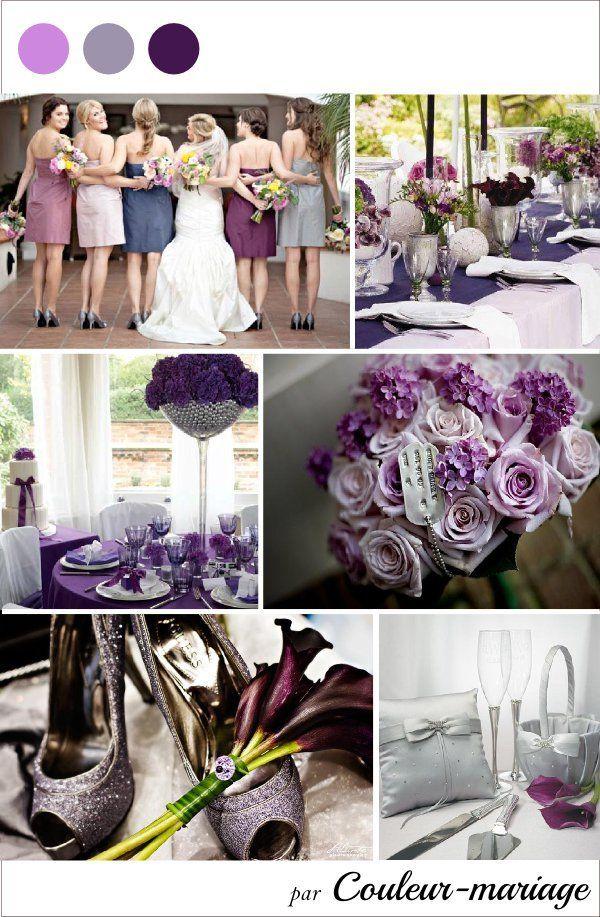Mariage violet gris argent - Couleur mariage