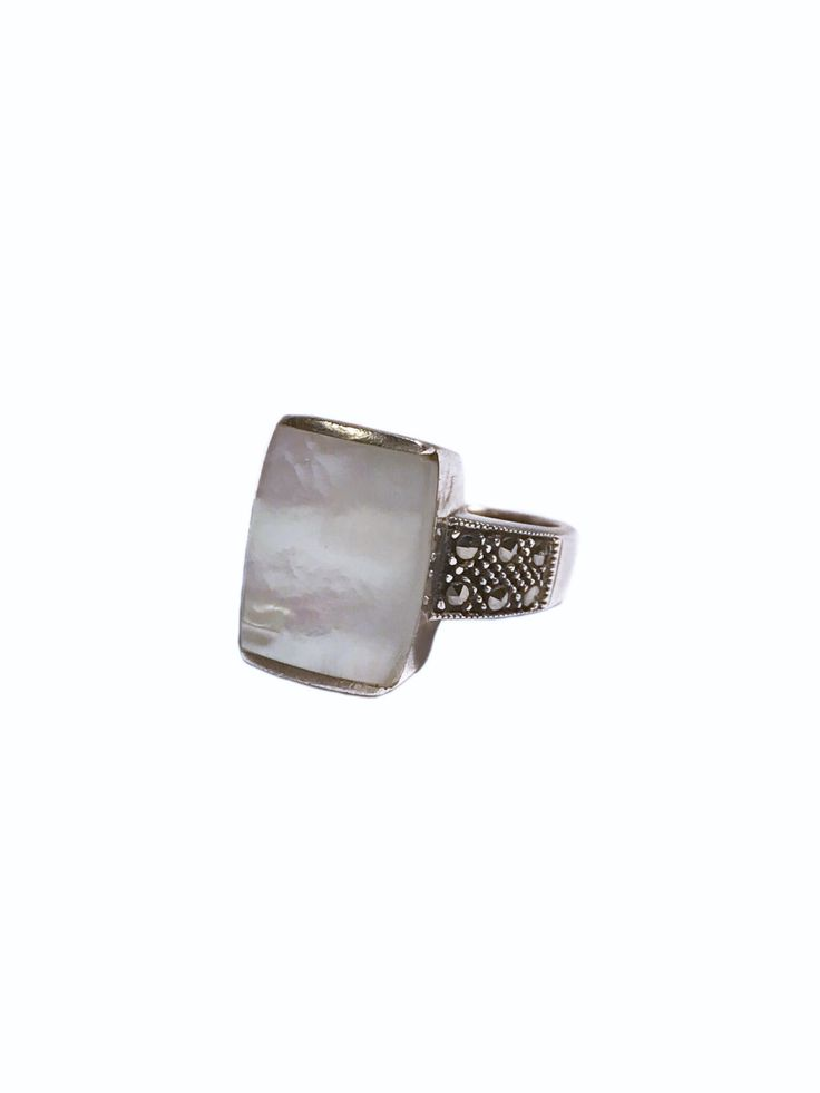 Sterling Silver Mother of Pearl and Marcasite Ring – Size 8 by VintageVybe on EtsyThe Vintage Vybe