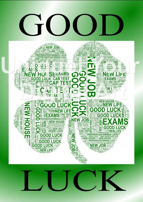 Good Luck  Four Leaf Clover Shaped Word Art by UniquelyYourDigiArt, £3.00