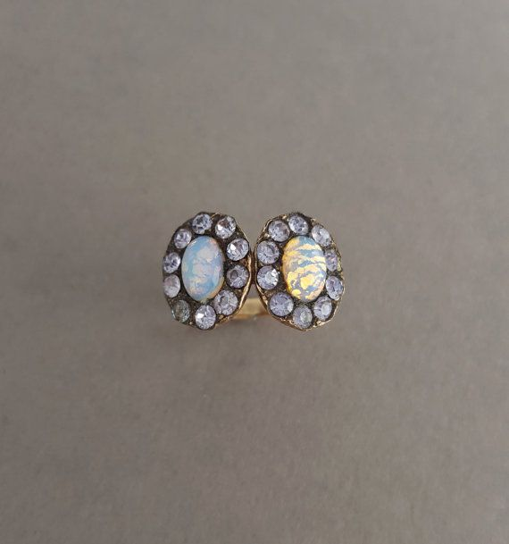 Victorian Style c. 1920 Rose Gold Fill, Faux Opal and Lavender Paste Stone Double Halo Ring - Moi Et Toi - Statement, Cocktail Ring