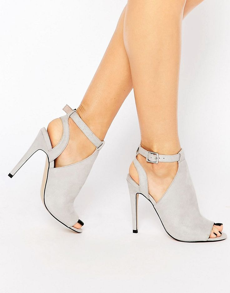Faith Dandy Gray Cut Out Heeled Shoe Boots