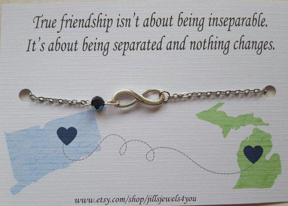 Best friend Long distance bracelet  Infinity by JillsJewels4You
