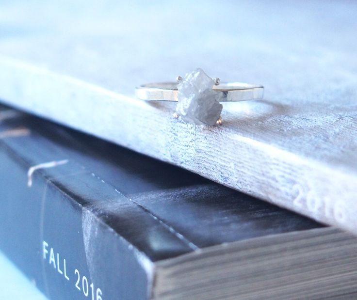 Raw Diamond Ring Rough Diamond Ring Solitaire Rings Diamond Silver Ring April Birthstone Ring Rough Genuine Gemstone Ring by LUSIX on Etsy https://www.etsy.com/listing/486843809/raw-diamond-ring-rough-diamond-ring