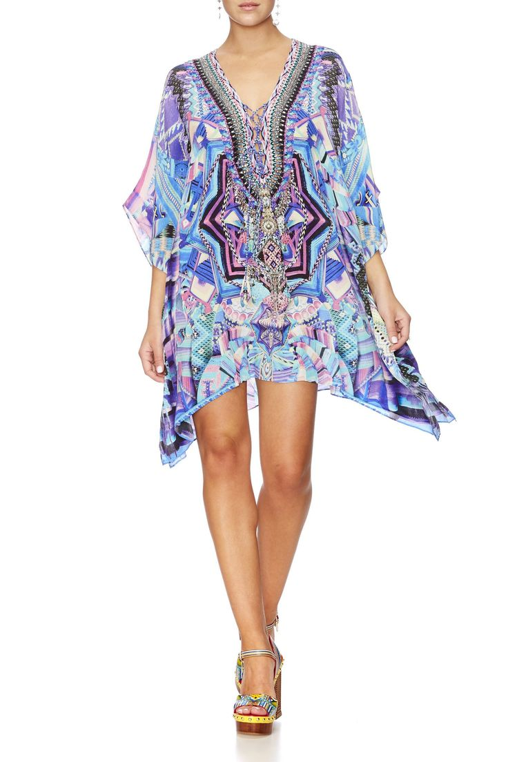 Camilla - Threads Of Cosmos Short Lace Up Kaftan