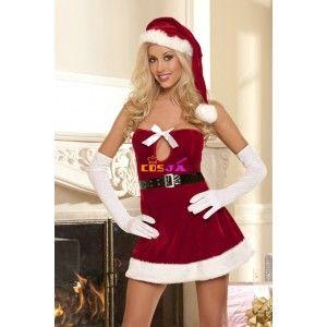 サンタコスチューム クリスマスベアトップドレス 黒のベルト   #christmas #sexly