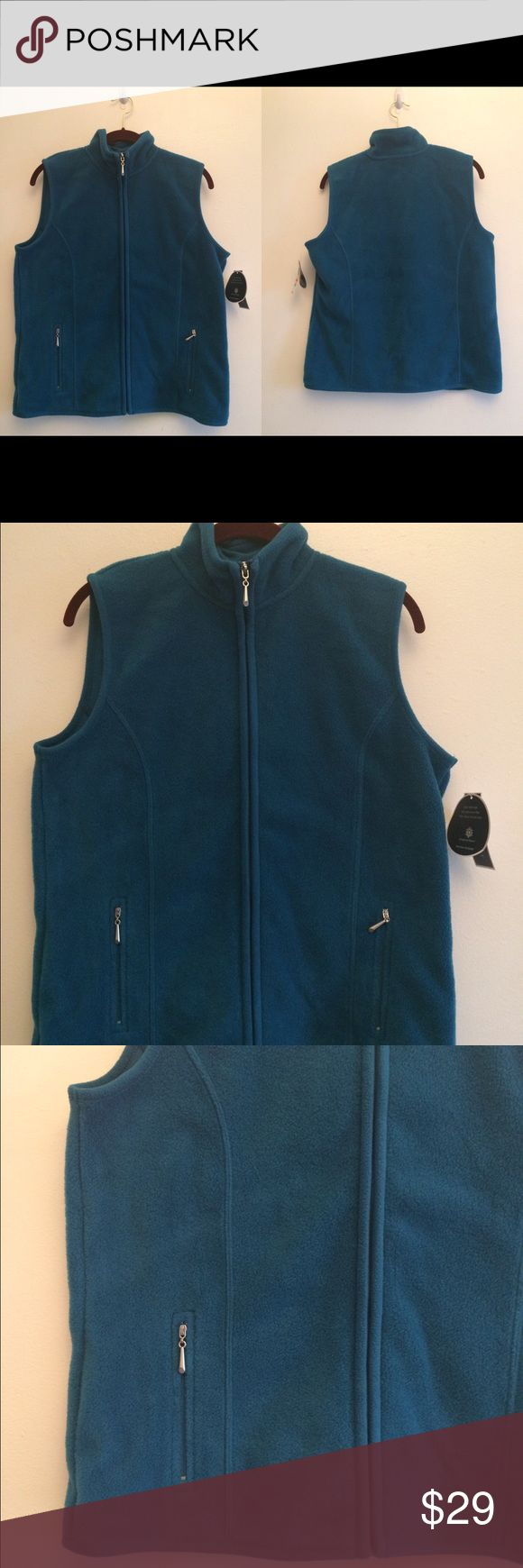 "KAREN SCOTT SPORT Womens  Fleece Jacket S KAREN SCOTT SPORT Womens Aqua Lake Zip Up Front Fleece Vest Jacket S. Bust - 42"" Length - 24.5"" Karen Scott Sweaters"