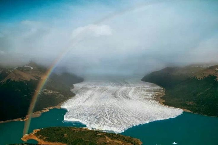 Beautiful glacier hitting lake.  Where is this? Maybe Argentina?
