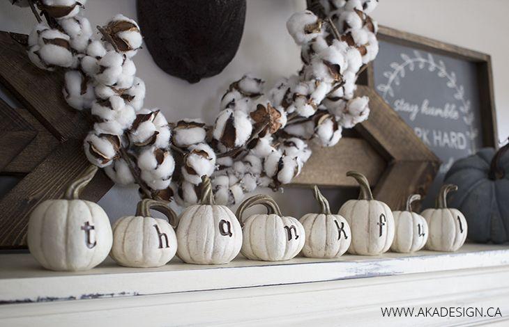 Thankful pumpkins - such a cute fall mantel