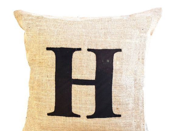 Burlap Throw Pillow with Monogram  Personalized by AmoreBeaute,