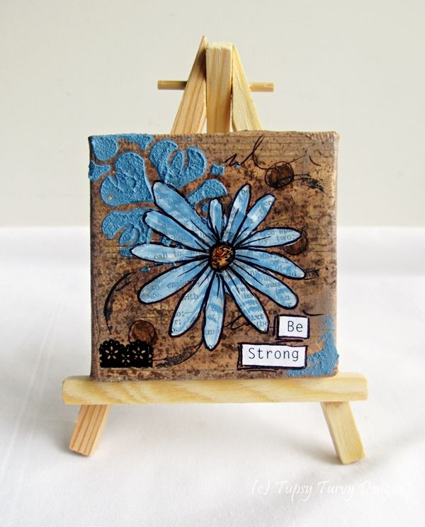 Flower with chocolate brown and light brown hues, mini mixed media canvas www.madeit.com.au/TupsyTurvy