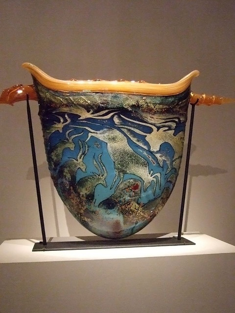Petroglyph Urn with Horn by William Morris 1992 Blown Glass