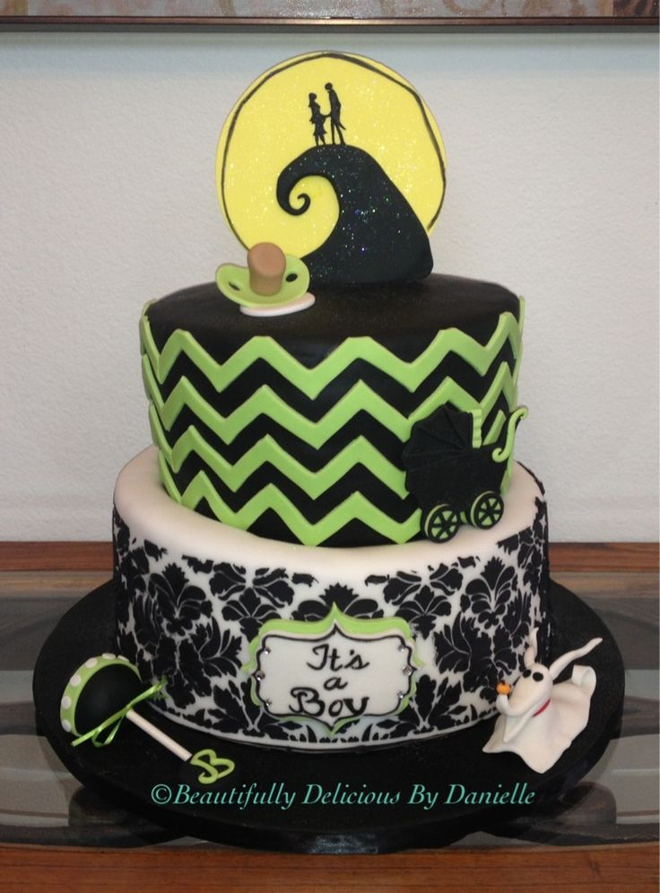 Nightmare Before Christmas Baby Shower Cake.  Visit Beautifully Delicious By Danielle on Facebook!