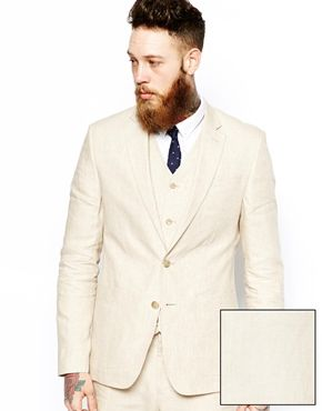 ASOS Slim Fit Suit in Beige Linen