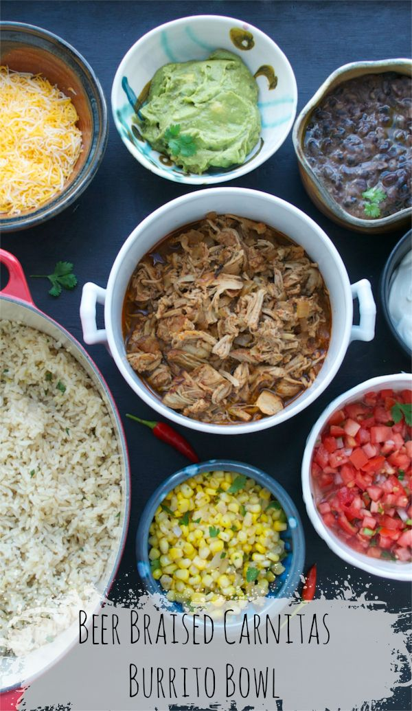 """Beer Braised Carnitas Burrito Bowls - If you've got a """"thing"""" for Chipotle, like we do, you are going to want to click over now to get this ENTIRE SET of easy recipes! To me, THIS is the ultimate in """"Game Day"""" party food..."""