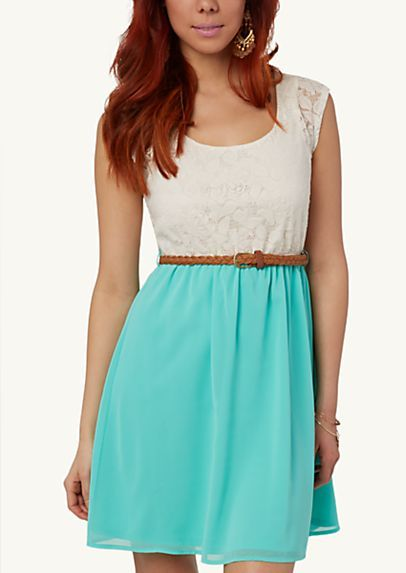 Belted Lace Skater Dress from Rue 21. Only $24.99!