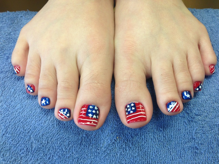 Sassy patriotic toes (*^◯^*) - 45 Best Sassiest Toes Nails Images On Pinterest Hair, Beauty And