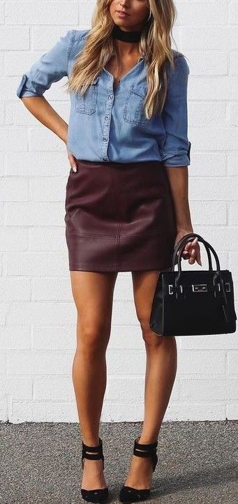 Burgundy leather + chambray.