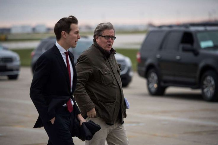 The first days inside Trump's White House: Fury, tumult and a reboot:  January 24, 2017  -      Advisers Jared Kushner, left, and Stephen K. Bannon get off then-President-elect Donald Trump's plane as they make their way to a meeting at Carrier Corporation in Indianapolis in December.