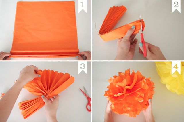 grote papieren pompons zelf maken