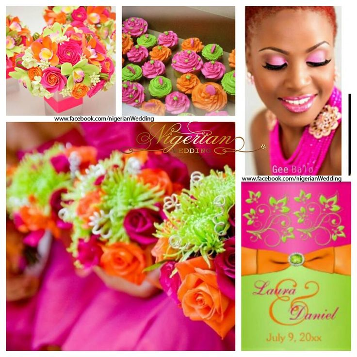 Fuchsia pink, orange and lime green wedding color scheme