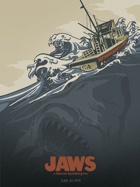 Original 18x24 JAWS movie poster print- limited to 30 prints- numbered and signed - 4 LEFT via Etsy