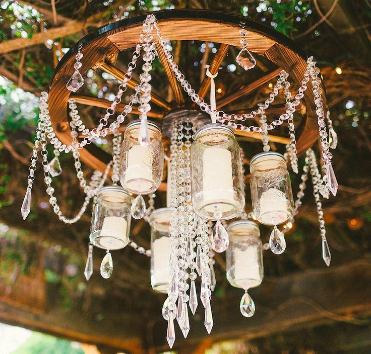 DIY CHANDELIER  http://www.weddingchicks.com/2015/05/29/laid-back-country-wedding/