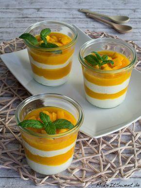Mango Quark Schokolade Minze schnelles Dessert im Glas Rezept einfach