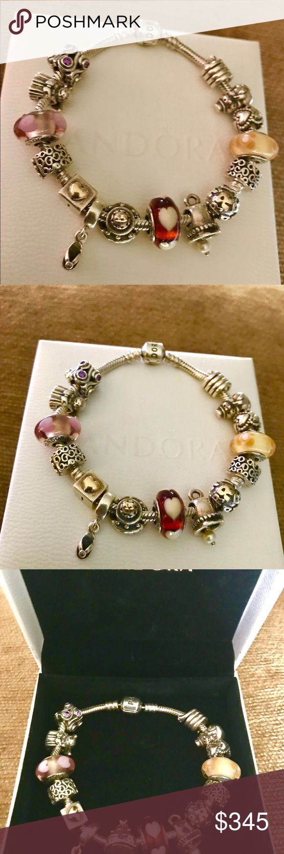 "PANDORA 15 Charms Clips 14k/925 & 7.9"" Bracelet !! Authentic Retired Pandora 15 Charms 14k 925  & 7.9"" Bracelet !!! Retail $825 in Very Good Preowned Condition ..!!! $3 Extra for Pandora Bracelet Box !! Please look picture for details !!! Please don't make really low offers !! Thanks for understanding ☺️ Pandora Jewelry Bracelets"