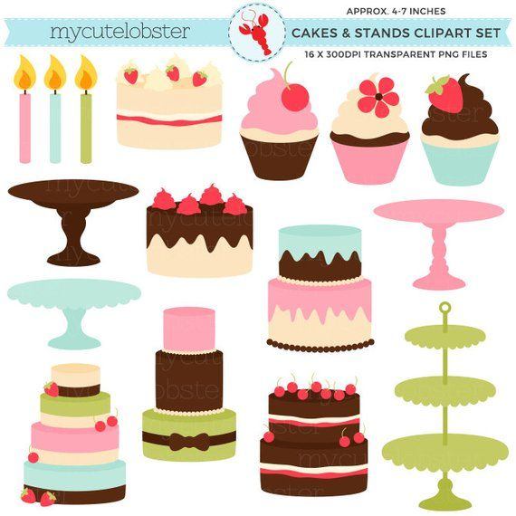 Cakes Stands Clipart Set Cakes Cupcakes Stands Candles Etsy Clip Art Etsy Candles Cake And Cupcake Stand