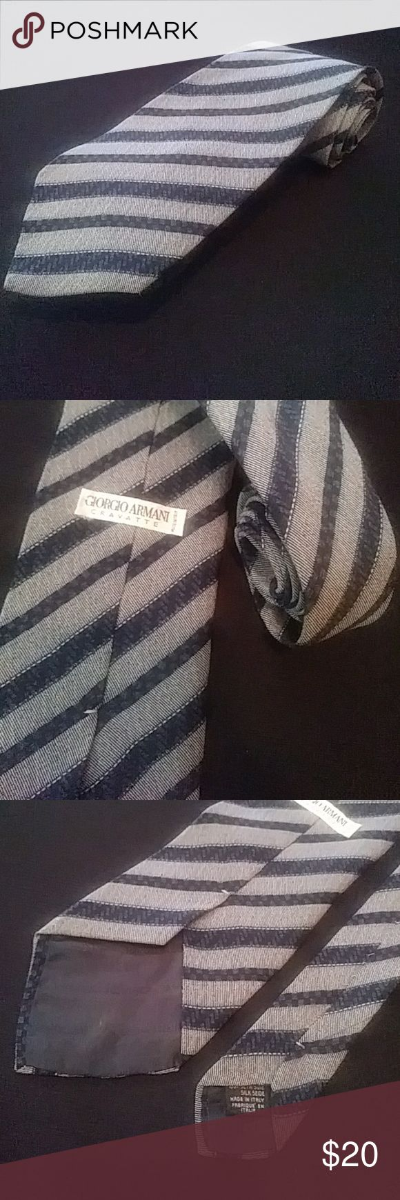 Giorgio Armani Tie Stripe Italian Cravatte Silk UP FOR SALE IS A 100% AUTHENTIC GIORGIO ARMANI TIE. IT IS 100% SILK AND IS IN EXCELLENT CONDITION. MADE IN TALY. MEASUREMENTS: 3-7/8 WIDE, 58-1/2 LONG. PLEASE MESSAGE ME WITH ANY QUESTIONS. MAKE ME A REASONABLE OFFER!!!  Get A 25% Discount When You Bundle Up 5 Items or More. Giorgio Armani Accessories Ties