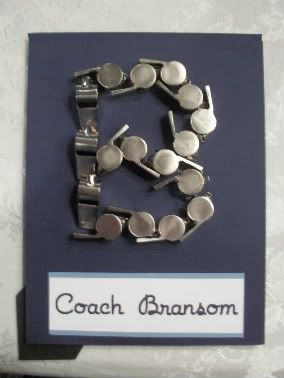 Coach's Gift.  Made with sports whistles..cool idea...great coach thank-you