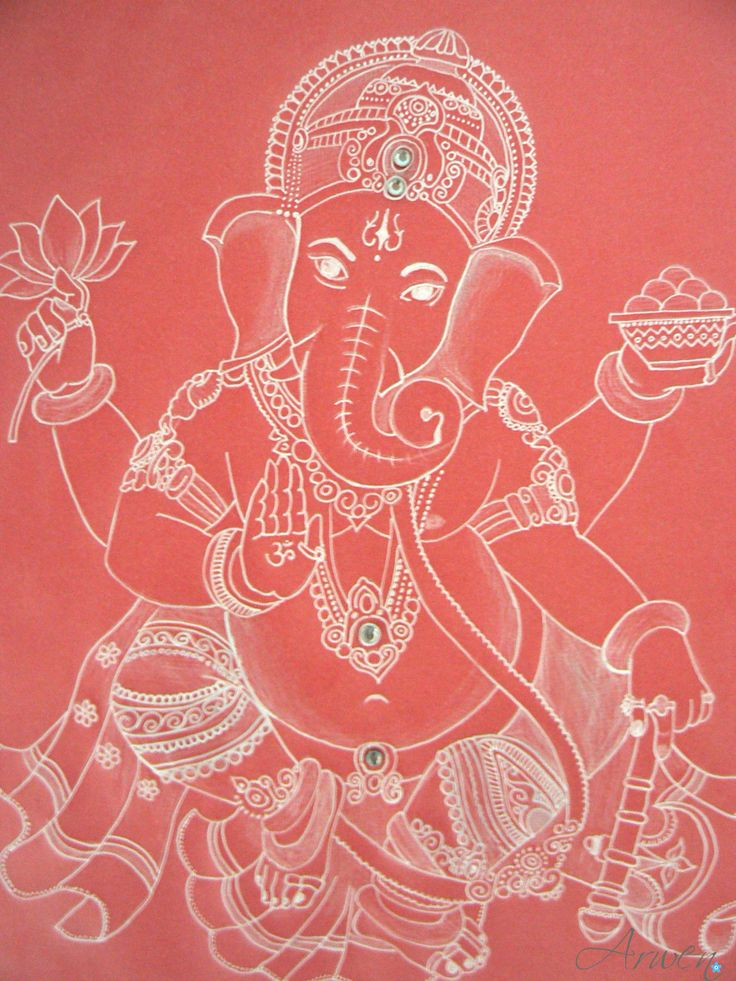 Sri Ganesha - drawing on parchment (pergamen paper), adorned with rhinestones.