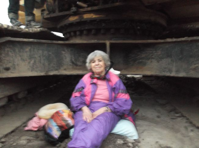 Oklahoma Grandmother Nancy Zorn, 79, has U-locked her neck to a piece of KXL heavy machinery, effectively halting construction near Allen, OK.