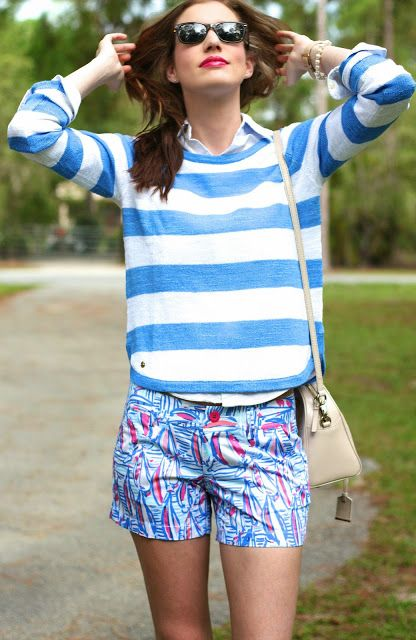 Stripes & Sailboats. @lillypulitzer Shorts & Sweater on C. Riley