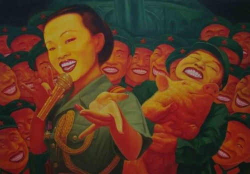 """sinethetamagazine:  """" Guo Jian, The Day Before I Went Away. 2003. Oil on canvas.  """"Born in Guizhou in 1962, Guo Jian is a Chinese Australian artist whose works belong to the style of cynical realism, an art movement that arose during the 1990s in..."""