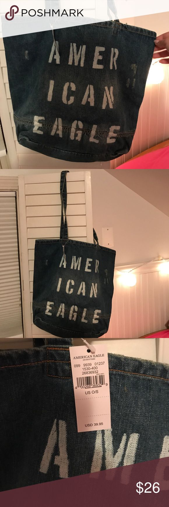 American Eagle Tote Bag American eagle tote bag made out of recycled jeans. Says American eagle on the front American Eagle Outfitters Bags Totes