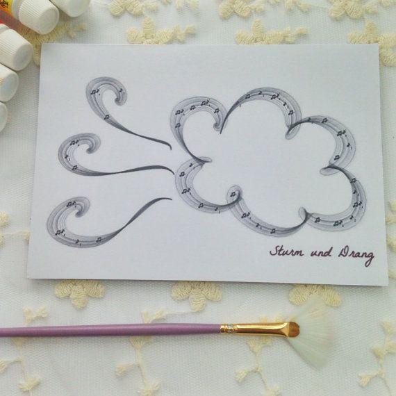Sturm Und Drang Musical Greetings Card. Perfect for music lovers, men, women, children, music students. Digital art plus musical notes.