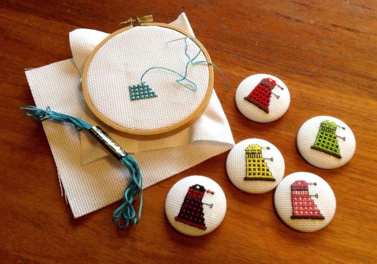 Cross stitch Dalek badges!