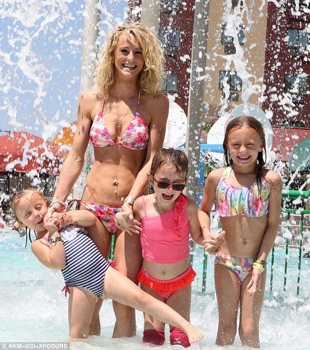 Splash: The 24-year-old Teen Mom 2 star got a chance to frolic with her twins Aliannah and Aleeah, six, and Adalynn, three