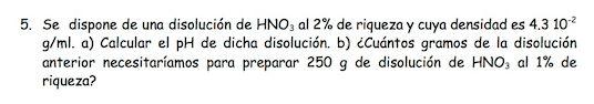 Ejercicio 5, propuesta 1, JUNIO 1996. Examen PAU de Química de Canarias. Tema: ácido-base.