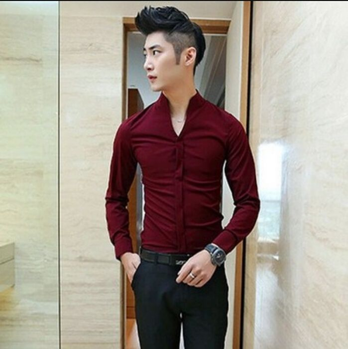Stand Collar Long-Sleeved Shirt  Item NO. XXX000389169N #ClubFactory #MensShirts #SmartMenShirts