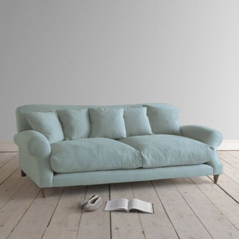 Large Crumpet in cloud blue vintage linen - Sofas | Loaf It looks so comfy.