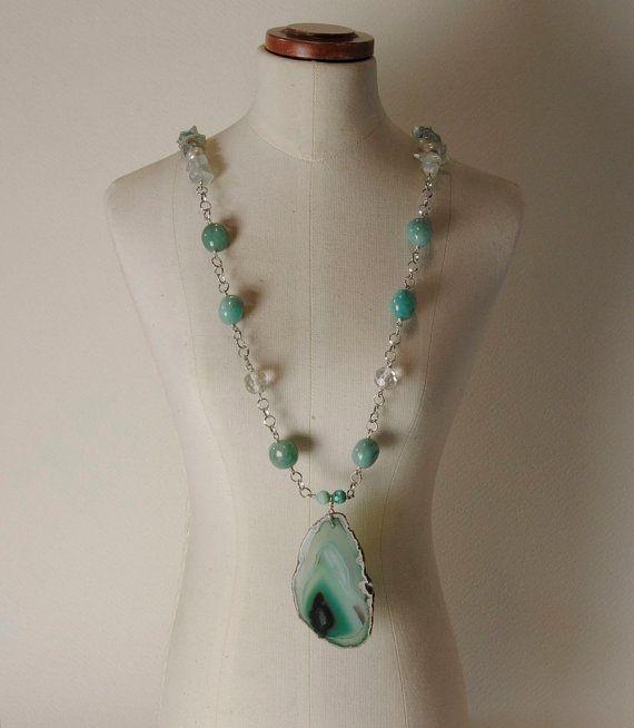 Green Agate pendant; 925% Silver chain, Pearls, Aquamarine and Amazonite necklace