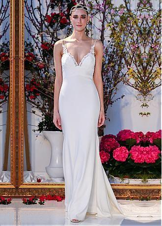 comprar Vestidos de boda glamorosa de satén gasa correas espaguetis escote con apliques de encaje sirena de descuento en Dressilyme.com