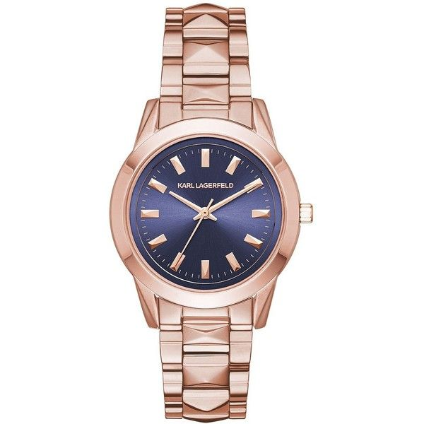 Karl Lagerfeld Labelle Rose Goldtone Stainless Steel Watch ($250) ❤ liked on Polyvore featuring jewelry, watches, rose gold, stainless steel wrist watch, karl lagerfeld watches, stainless steel jewelry, karl lagerfeld jewelry and navy blue watches