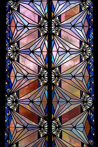 Art Deco stained glass window, Boston Avenue Methodist Church, Tulsa, Ok