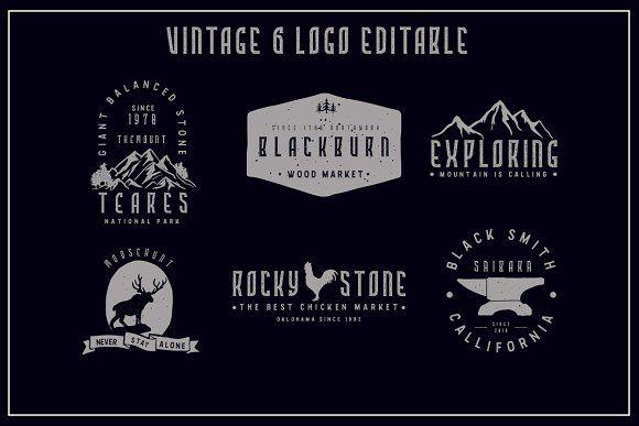 6 Vintage Logo Bonus Font Vintage Logo Vintage Fonts Logo Templates