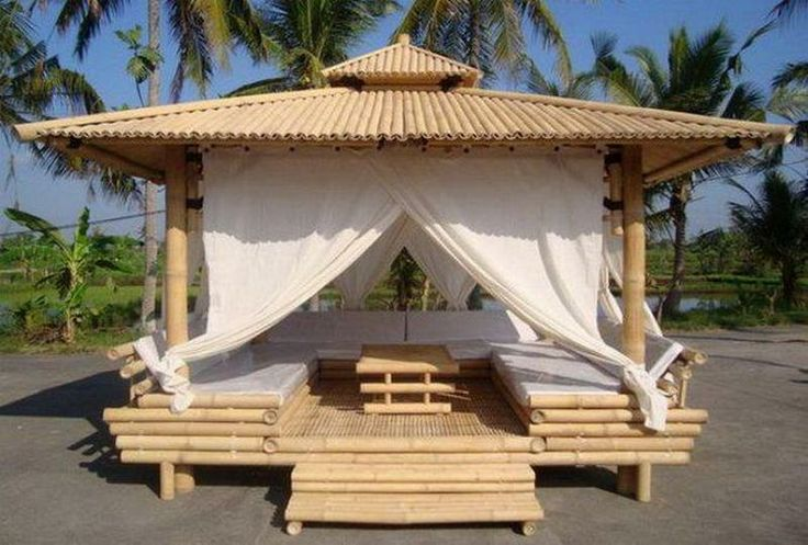 """Another example of the amazing opportunities contained within that amazing grass - bamboo. Would this bamboo gazebo help you relax? There are lots of ways of using bamboo for your home. View them on our """"Bamboo Construction"""" album on our site at http://theownerbuildernetwork.co/house-hunting/bamboo-homes/bamboo-construction/ Feeling """"bamboozled""""?"""