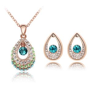 Parati Classic Rose Gold Plated Teardrop Pendant for Women Choker Chain Necklace & Earrings with Austrian Crystals Fashion Jewelry Luxury Jewel Box Gift Packing - Not Allergic Environmental Friendly