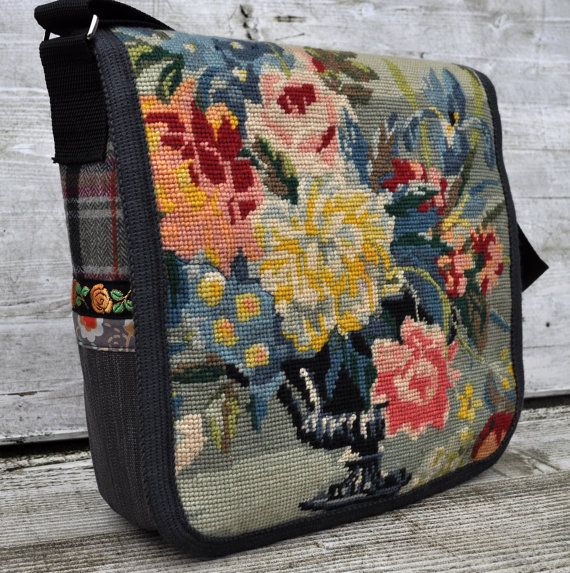 woo textile fabric messenger bag by DutchSisters on Etsy